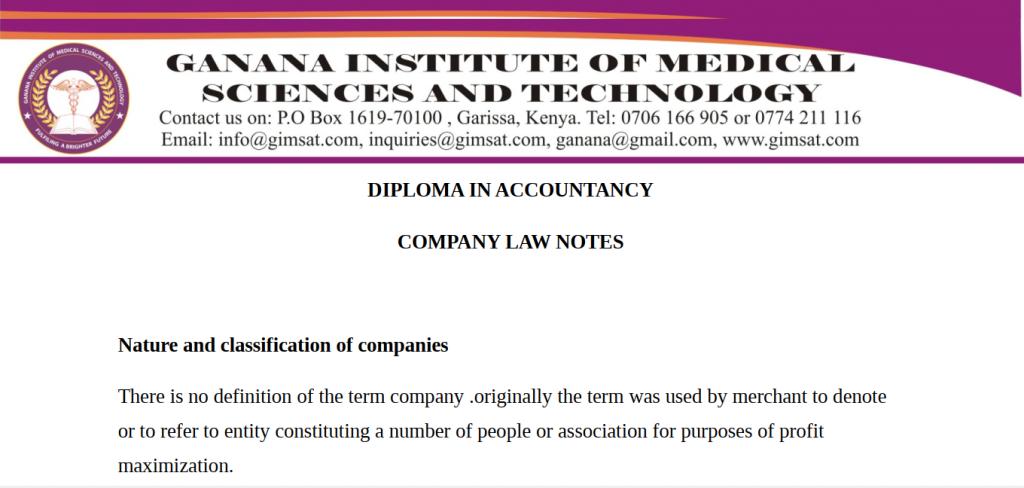 Company Law KNEC Diploma notes